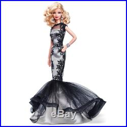 2015 NRFB Barbie Classic Evening Gown Platinum Label Black/White Collection Doll