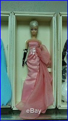 4 Barbie Blush Gold Cocktail Blue Chiffon Glam Gown Black White Tweed Silkstone