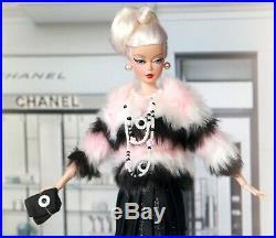 BARBIE SWAROVSKI CHANEL PINK FUR COAT SILKSTONE Fashion Doll Collector BFMC