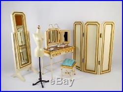 BFMC Silkstone vanity, dressing room mirror, screen, & dress form