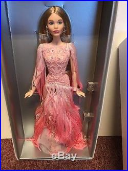 Blush Fringed Gown Barbie Doll With Shipper Platinum Label