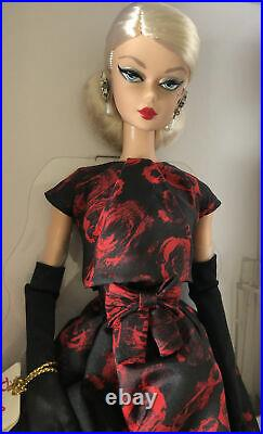Elegant Rose Cocktail Dress Silkstone Poseable Barbie Doll & Hat, Gloves & Purse