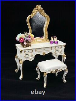 Fashion Royalty Integrity Toys Silkstone Barbie Doll Mirrored Vanity & Bench Set