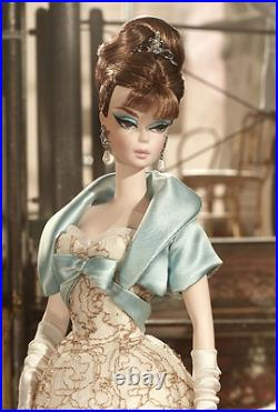 Ivory Lace Party Dress Silkstone Barbie Doll With Blue Cropped Jacket & Tiara