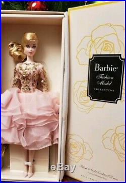 New Barbie Silkstone Fashion Model Collection Doll Blush & Gold Cocktail Dress