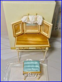 New Open Box Barbie Silkstone Vanity Bench Accessories Complete Pristine Cond