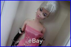 Pink Satin Organza Train Glam Gown Silkstone Barbie Doll & Chandelier Earrings