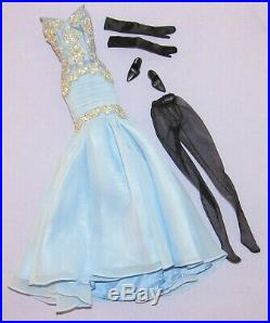 The Soiree Outfit Only Silkstone Barbie Clothing Blue Dress, Gloves, Hose, Heels